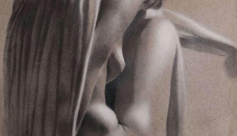 Plenilunio - disegno grafite e acrilico su carta tinta