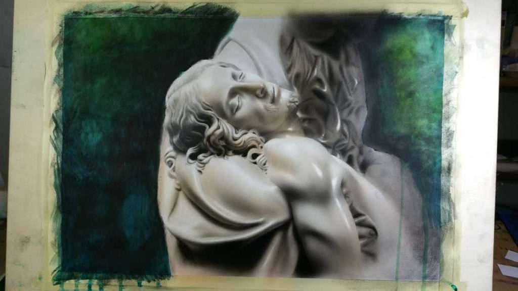 La Pietà di Michelangelo - Acrilico e misto su carta – 50×35 cm – 2016