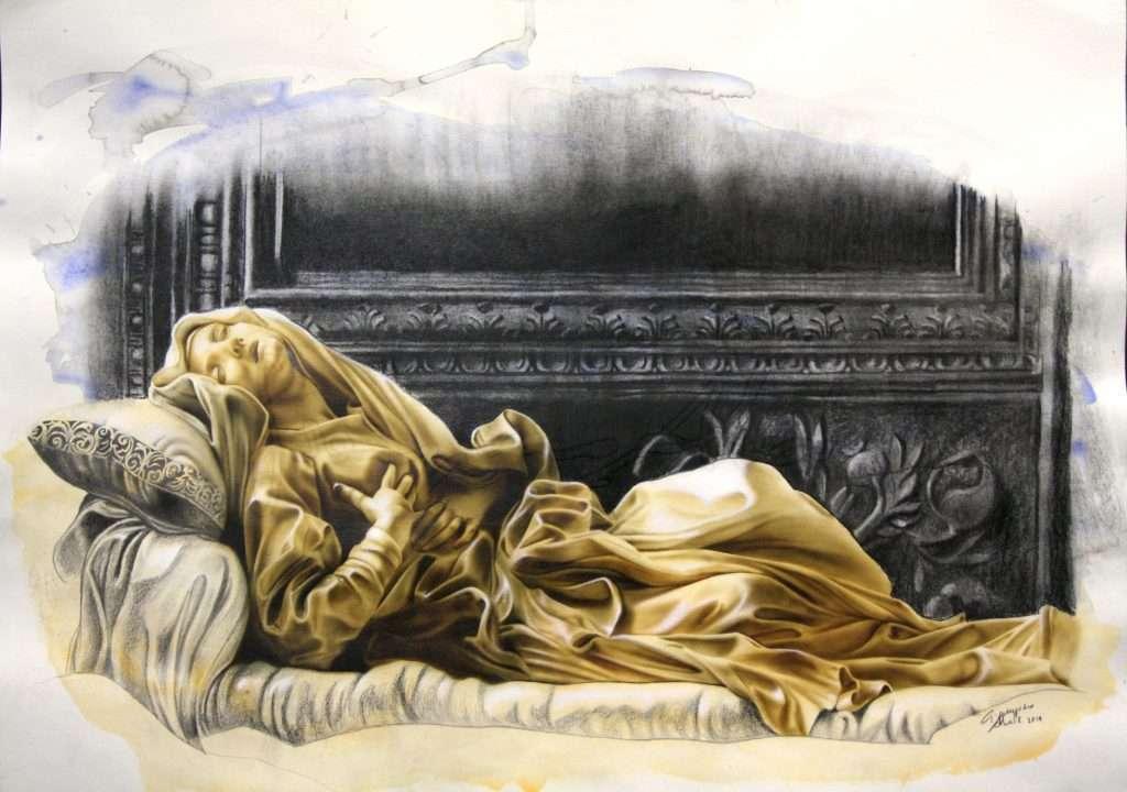 Estasi Beata Ludovica Albertoni di G. L. Bernini - Acrilico e carboncino su carta - 70x50 cm - 2015 - Collezione Privata Roma