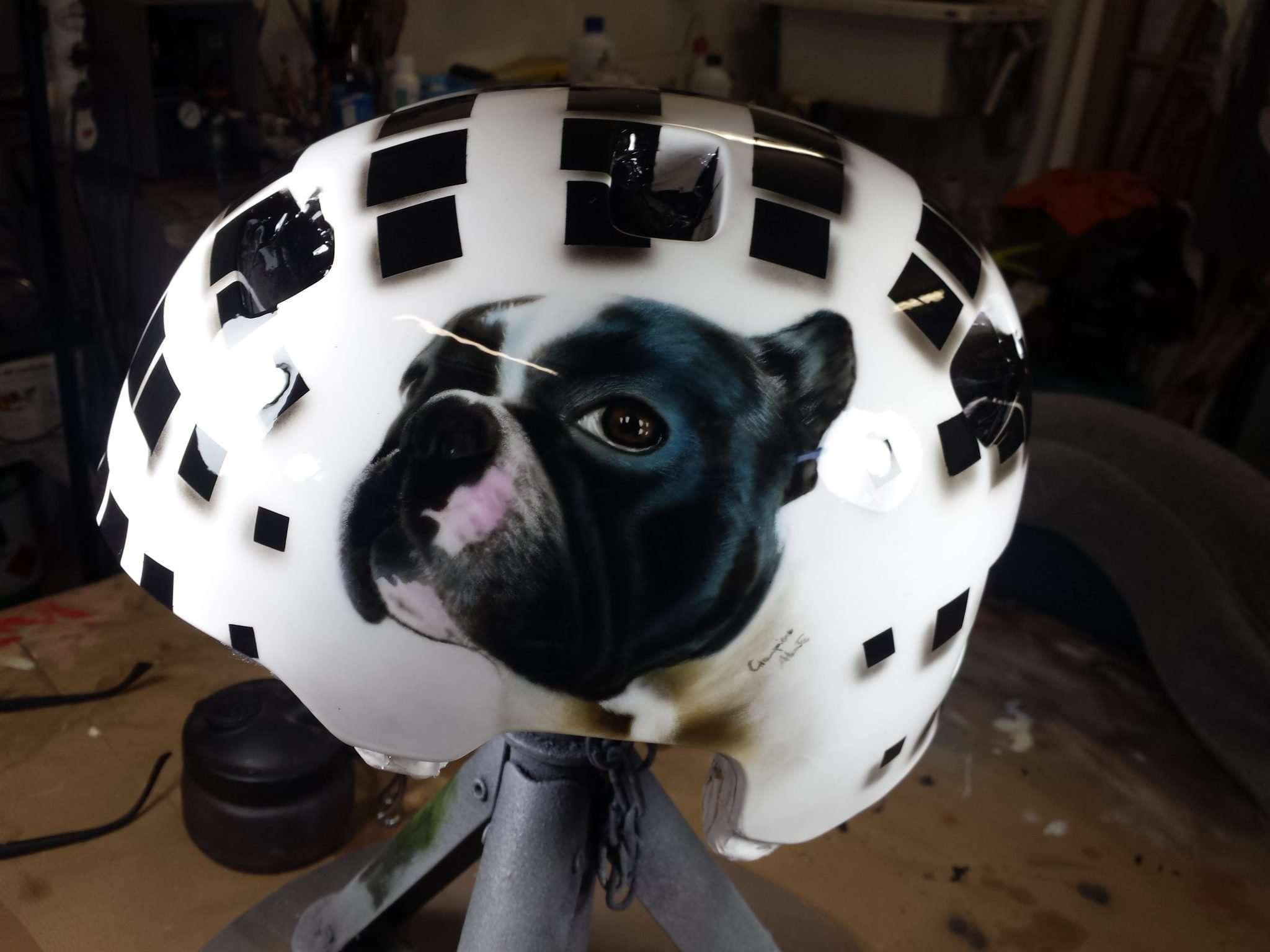 Aerografia casco - Ritratto cane - Giampiero Abate