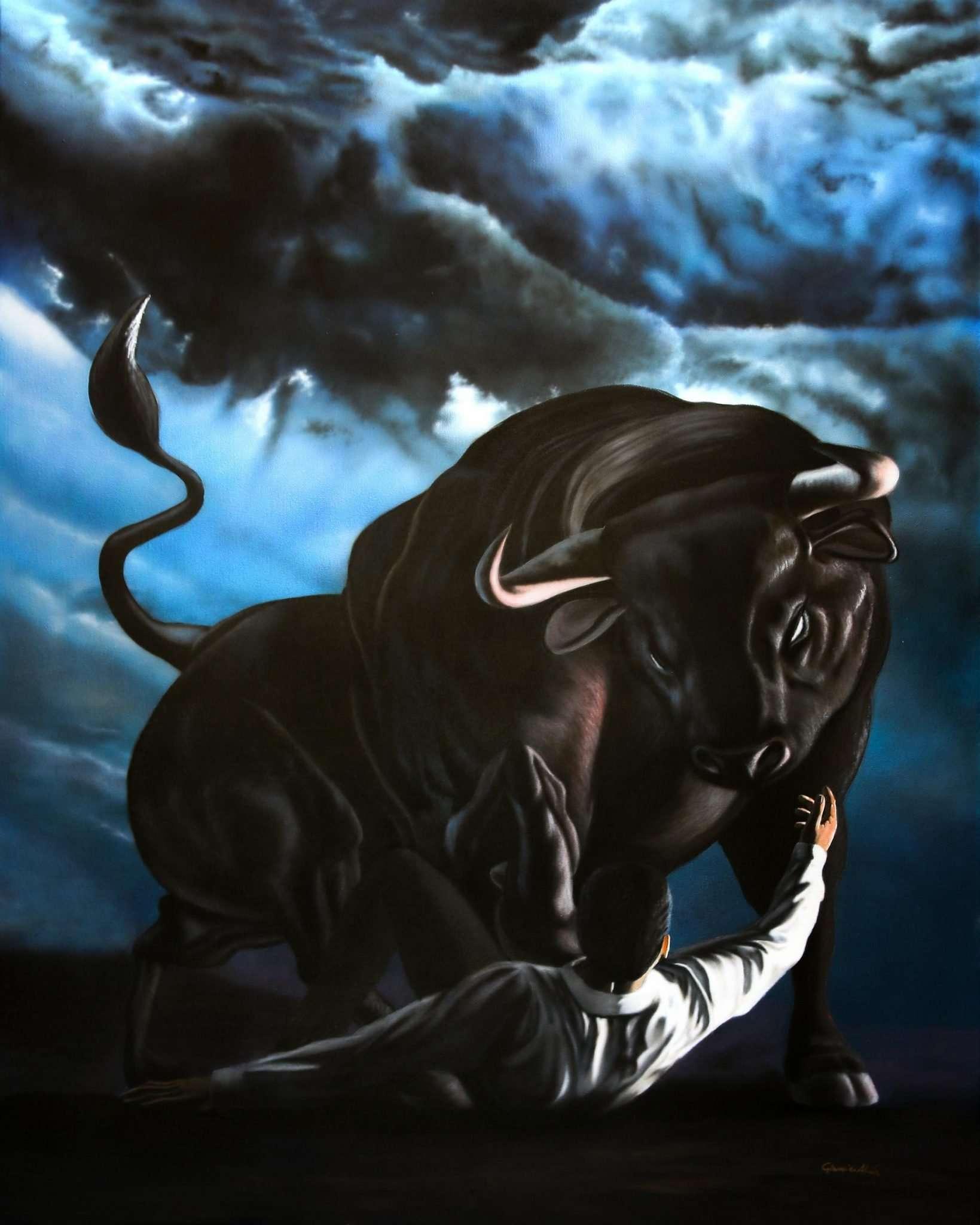 Tauromachia Inversa (la Visione) - Acrilico su tela 80x100 cm - 2018 - Giampiero Abate
